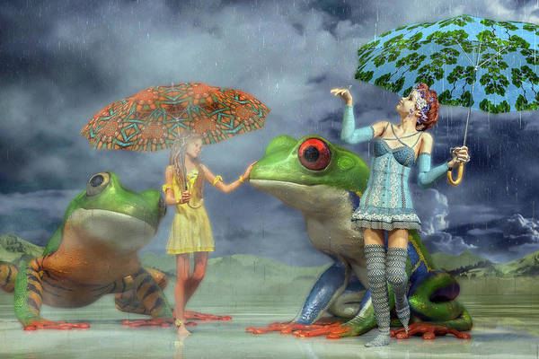 Wall Art - Digital Art - Rainy Day Friends by Betsy Knapp