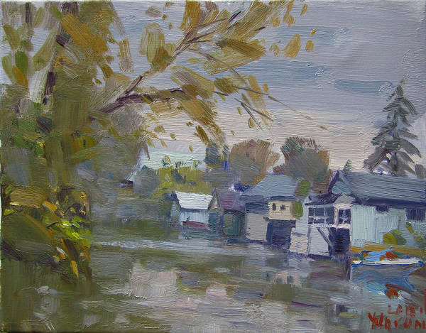 Wall Art - Painting - Rainy Fall By Boathouses by Ylli Haruni