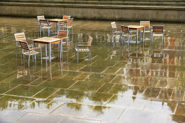 Photograph - Rainy London Reflections - Deserted Alfresco Cafe by Georgia Mizuleva