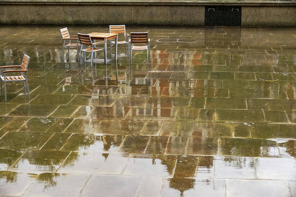 Photograph - Rainy London Reflections - Deserted Courtyard Cafe by Georgia Mizuleva