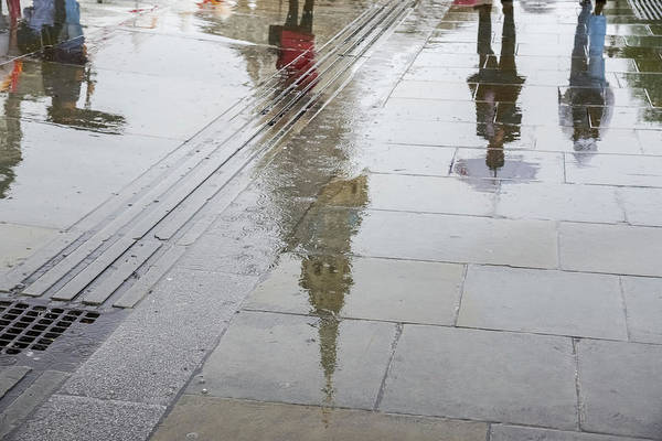 Photograph - Rainy London Reflections - Trafalgar Square And St Martin-in-the-fields Belltower by Georgia Mizuleva