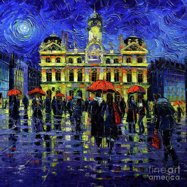 Grey Skies Wall Art - Painting - Rainy Night In Lyon by Mona Edulesco
