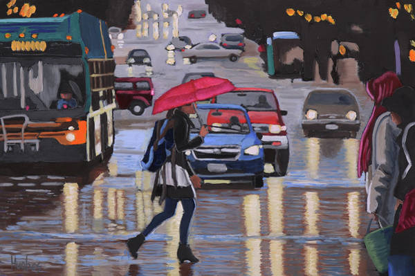 Painting - Rainy Night In The City by Kevin Hughes