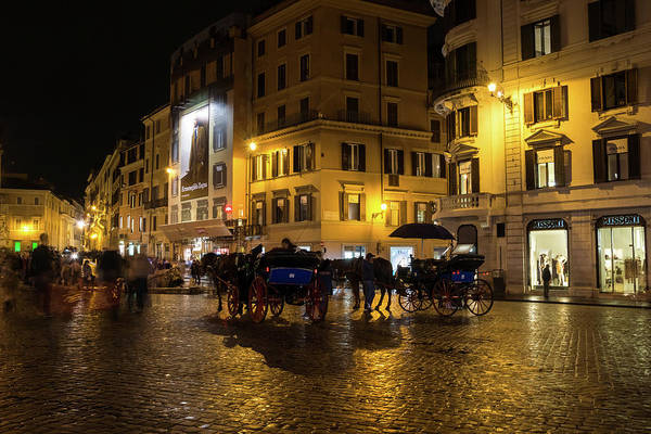 Photograph - Rainy Rome - Slo Mo Shoppers And Horse Carriages On Golden Piazza Di Spagna by Georgia Mizuleva