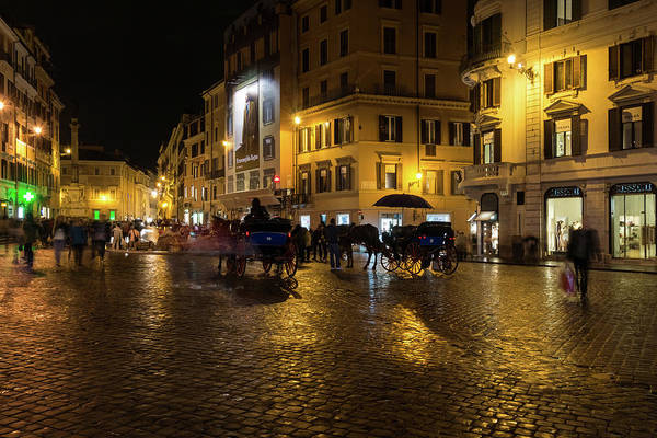Photograph - Rainy Rome - Slo Mo Shoppers Horses And Carriages On Glowing Piazza Di Spagna by Georgia Mizuleva