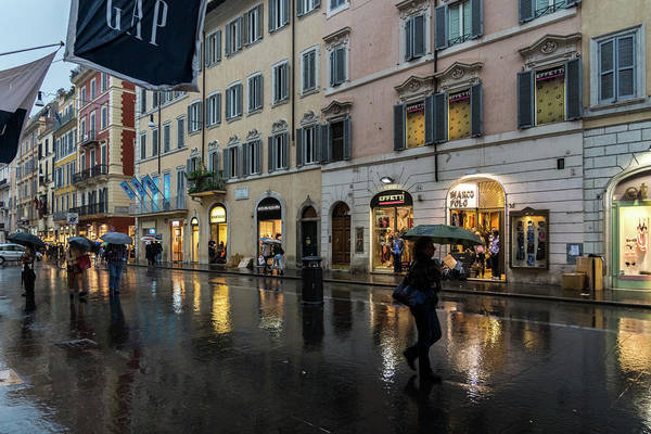 Photograph - Rainy Rome - Via Del Corso Take Three by Georgia Mizuleva