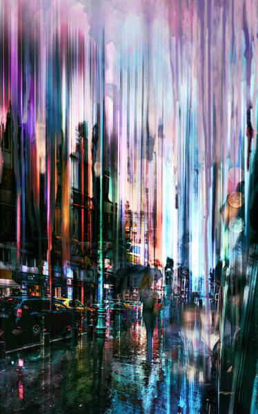 City Scape Digital Art - Rainy Street by Tim Palmer