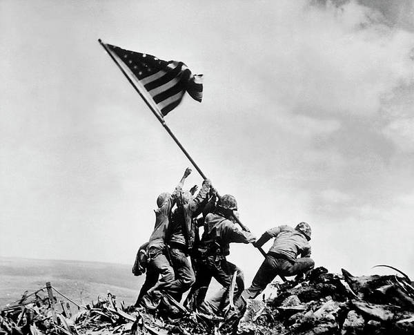 Raising Wall Art - Photograph - Raising The Flag On Iwo Jima - Ww2 - 1945 by War Is Hell Store