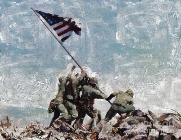 Dday Wall Art - Painting - Raising The Flag On Iwo Jima, Wwii by M