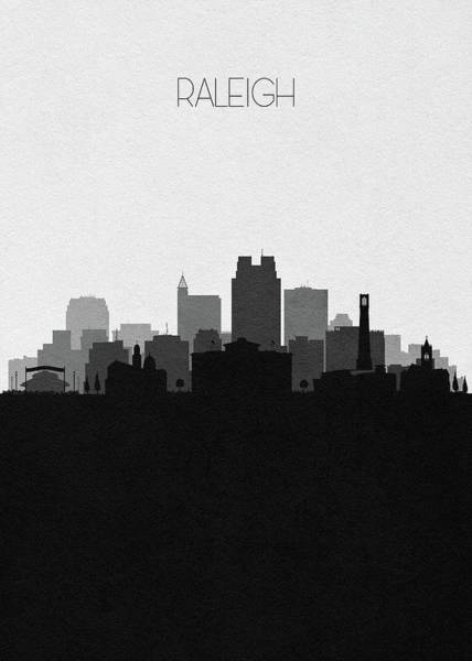 Wall Art - Digital Art - Raleigh Cityscape Art by Inspirowl Design