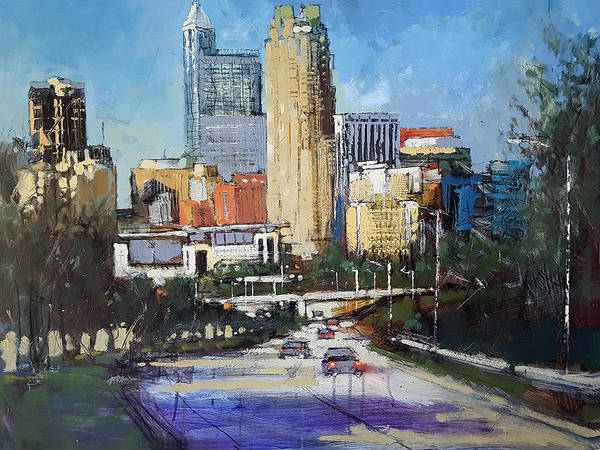 Wall Art - Painting - Raleigh Classic Skyline by Dan Nelson