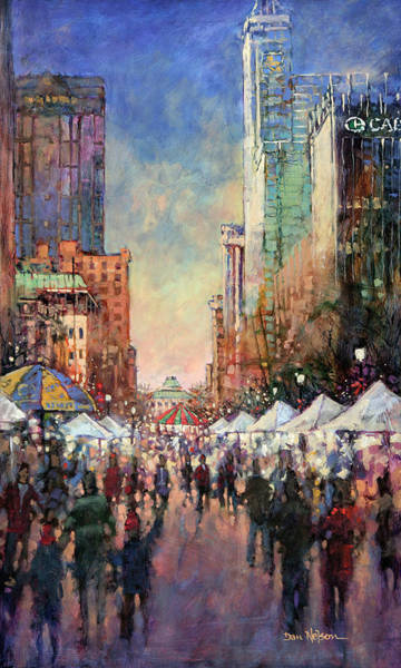 Wall Art - Painting - Raleigh New Year's Eve by Dan Nelson