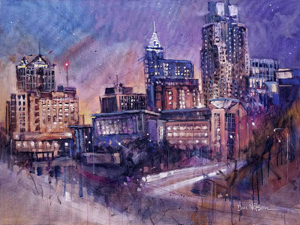 Wall Art - Painting - Raleigh Nighttime Skyline by Dan Nelson