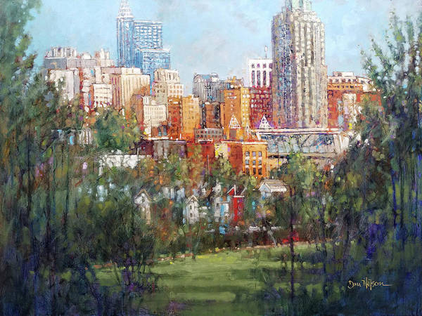 Wall Art - Painting - Raleigh Skyline From Dix Hill by Dan Nelson