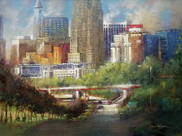 Wall Art - Painting - Raleigh Skyline Overcast by Dan Nelson