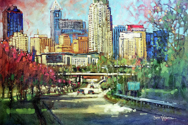 Wall Art - Painting - Raleigh Skyline Red Bloom by Dan Nelson