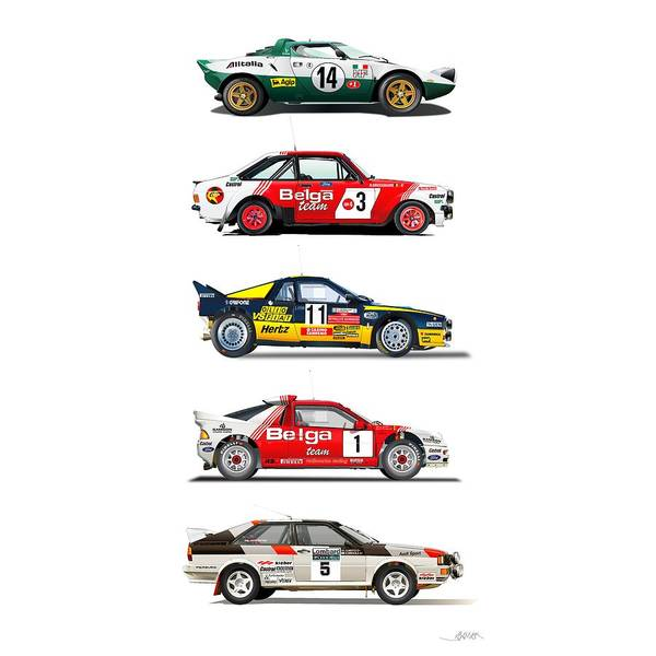 Wall Art - Drawing - Rally Cars From The 70-80th by Alain Jamar