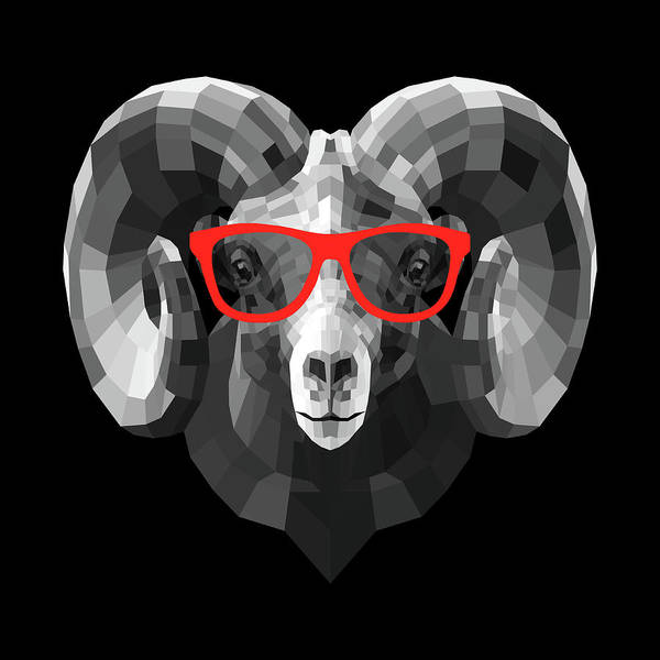 Wall Art - Digital Art - Ram In Red Glasses by Naxart Studio