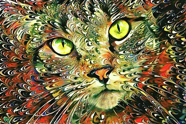 Digital Art - Rambler The Psychedelic Tabby Cat by Peggy Collins