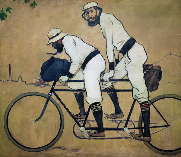 Wall Art - Painting - Ramon Casas And Pere Romeu On A Tandem - Digital Remastered Edition by Ramon Casas