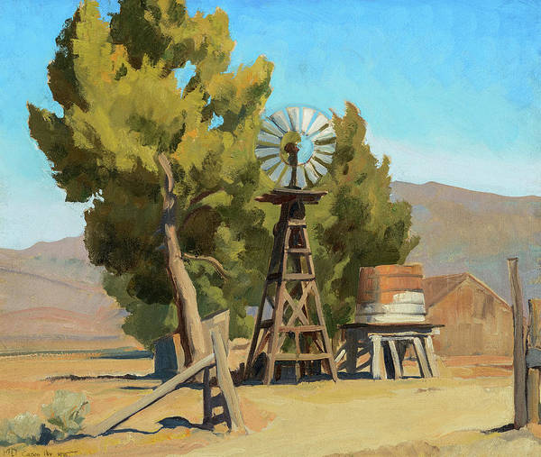 Painting - Ranch Windmill, Carson, Nevada, 1935 by Maynard Dixon