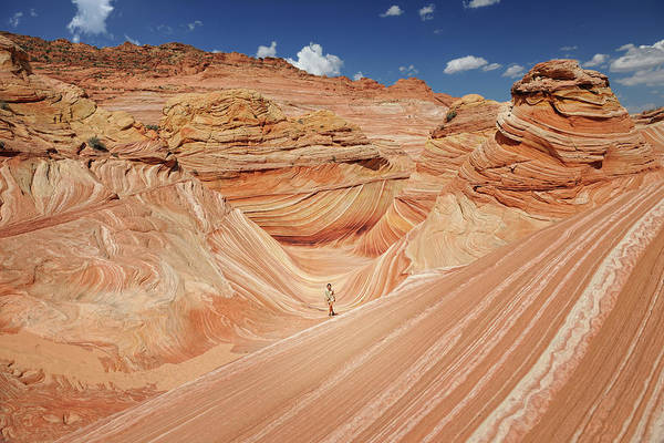 Crevice Photograph - Ranger Walking Through The Wave - by 4fr