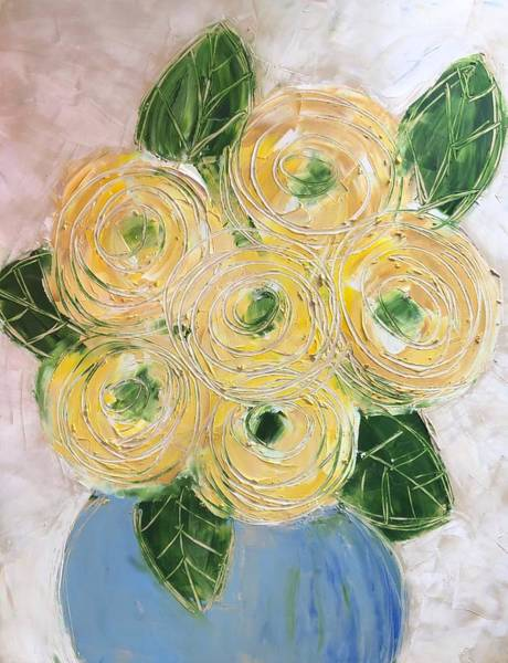 Painting - Ranunculus In Blue Vase  by Monica Martin