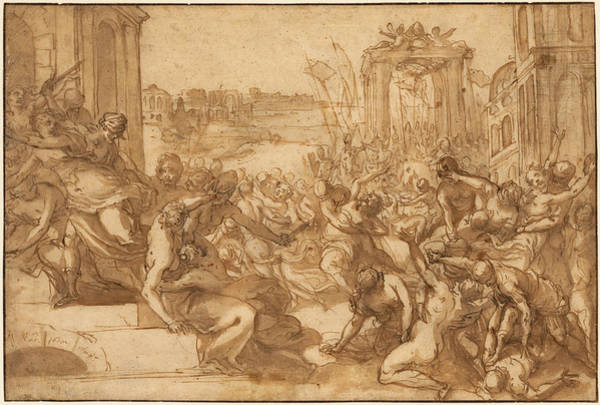 Drawing - Rape Of The Sabines by Hans Rottenhammer
