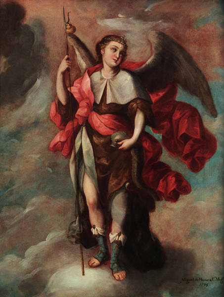 Wall Art - Painting - Raphael Archangel by Fray Miguel de Herrera
