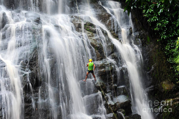 Wall Art - Photograph - Rappelling Wang Tum Waterfall by Jamoo