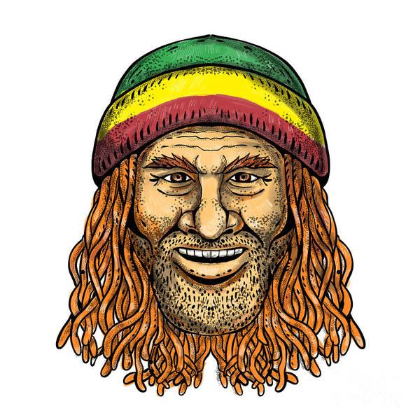 Wall Art - Digital Art - Rastafarian Dude Tattoo Color by Aloysius Patrimonio