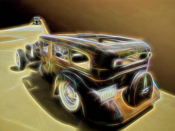 Digital Art - Rat Rod Showdown by Rick Wicker