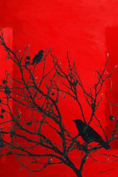 Digital Art - Raven - Black Over Red by Serge Averbukh