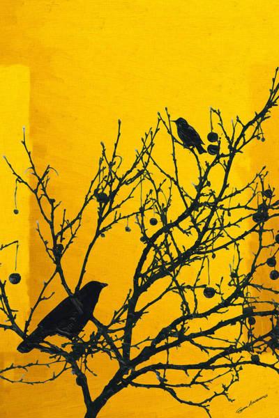 Digital Art - Raven - Black Over Yellow by Serge Averbukh