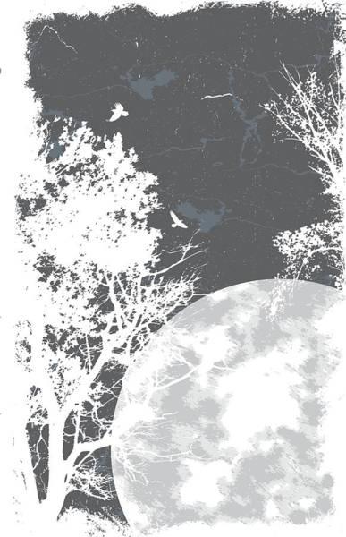 Digital Art - Raven In Tree On Moon Light by Passion Loft