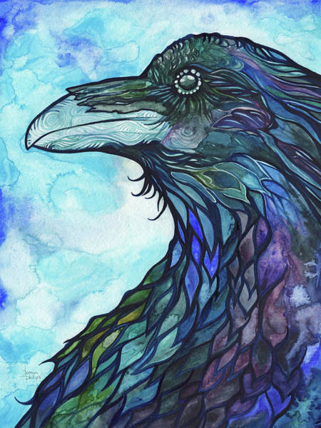 Stained Glass Wall Art - Painting - Raven by Tamara Phillips