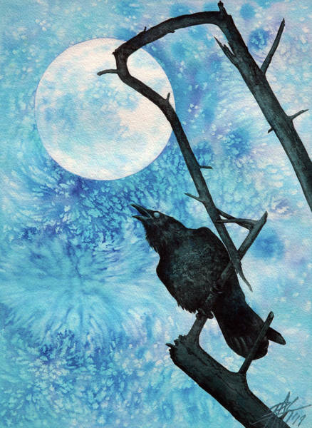 Raven With Torrey Pine Branch And Cold Moon Art Print by Robin Street-Morris