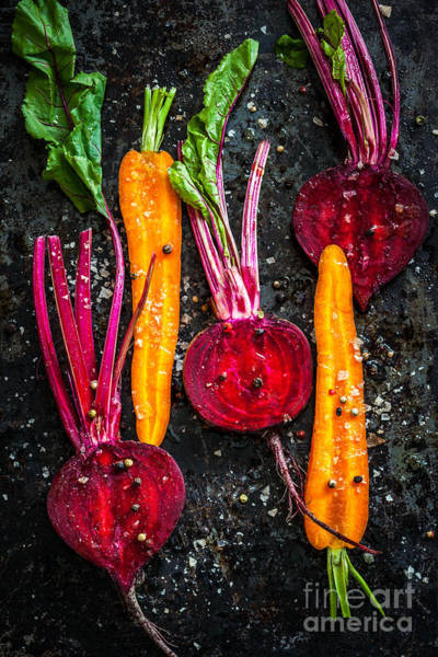 Beet Wall Art - Photograph - Raw Vegetables For Roasting, On A by Sarsmis