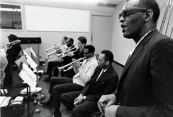 Photograph - Ray Charles With Band In Recording by Bill Ray