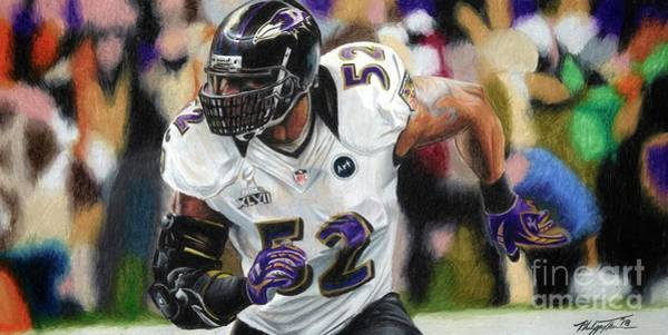 Super Bowl Drawing - Ray Lewis 1 by Philippe Thomas