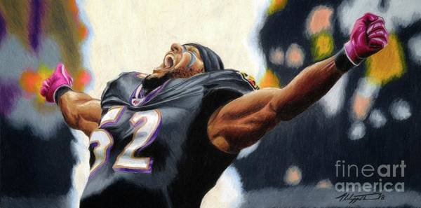 Super Bowl Drawing - Ray Lewis 2 by Philippe Thomas