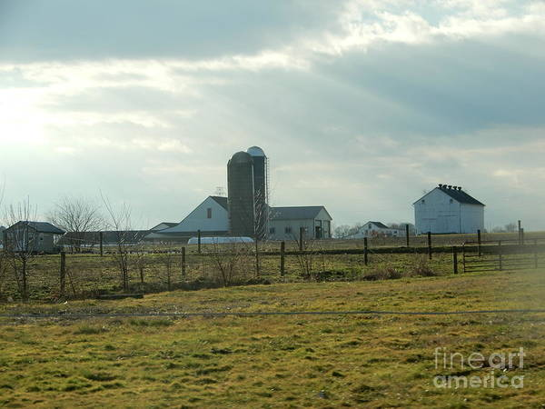 Photograph - Rays Of Sunshine Over An Amish Farm by Christine Clark
