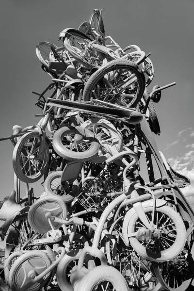 Photograph - Razorback Greenway Bike Tower Statue - Northwest Arkansas Monochrome by Gregory Ballos