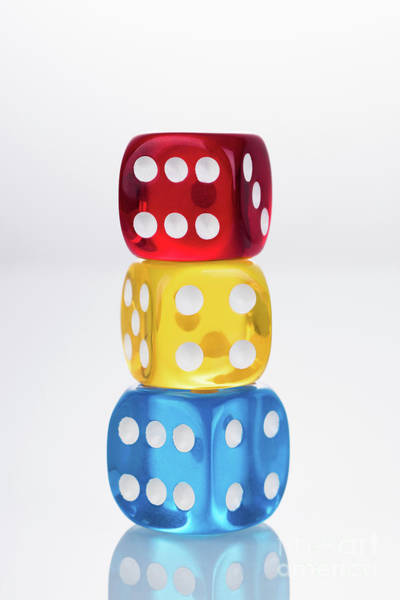 Photograph - Rby Colored Dices Stacking by Miragec