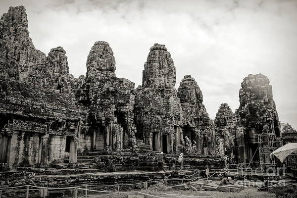 Wall Art - Photograph - Re Construction Temple Cambodia Ruins  by Chuck Kuhn