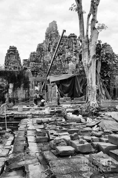 Wall Art - Photograph - Re-construction Temples Cambodia Sepia  by Chuck Kuhn