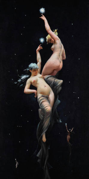 Reach Painting -  Reaching For The Stars - Moonlit Beauties by Luis Ricardo Falero