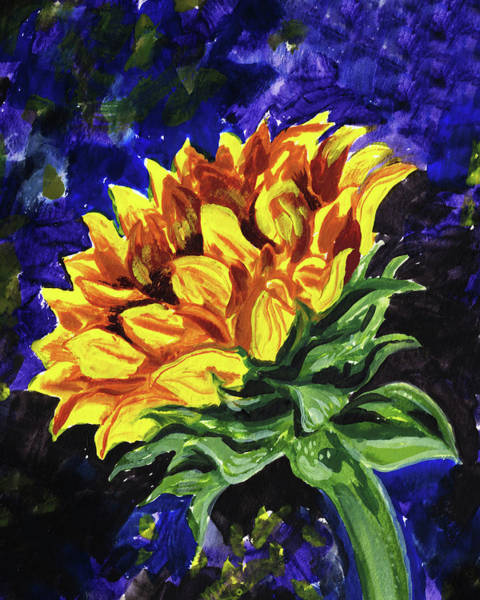 Wall Art - Painting - Reaching Up Sunflower Floral Impressionism  by Irina Sztukowski