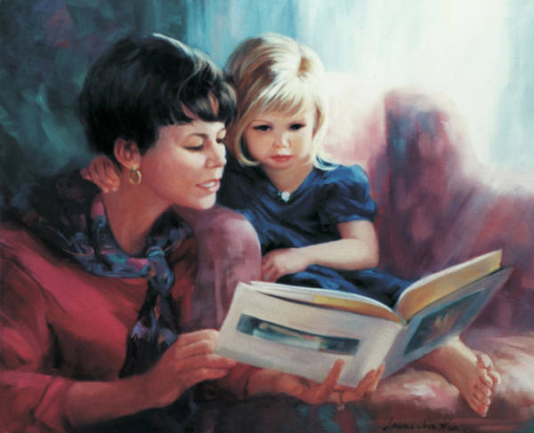 Wall Art - Painting - Read Me A Story by Laurie Snow Hein