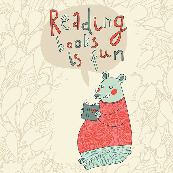 Wall Art - Digital Art - Reading Books Is Fun - Cartoon Stylish by Smilewithjul